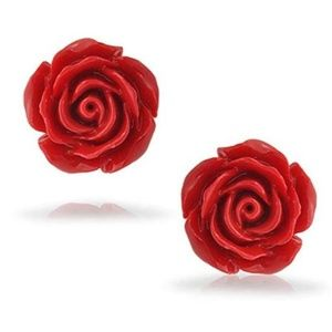 Jewelry - Silver Red Rose Resin Earrings